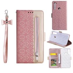 Luxury Lace Zipper Stitching Leather Phone Wallet Case for Mi Xiaomi Redmi Note 8 - Pink