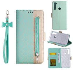Luxury Lace Zipper Stitching Leather Phone Wallet Case for Mi Xiaomi Redmi Note 8 - Green