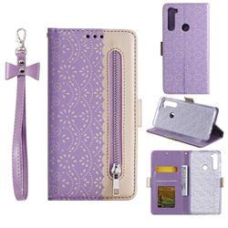 Luxury Lace Zipper Stitching Leather Phone Wallet Case for Mi Xiaomi Redmi Note 8 - Purple