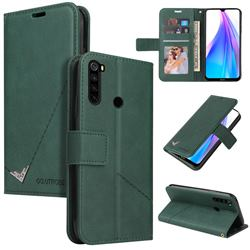 GQ.UTROBE Right Angle Silver Pendant Leather Wallet Phone Case for Mi Xiaomi Redmi Note 8 - Green