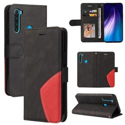Luxury Two-color Stitching Leather Wallet Case Cover for Mi Xiaomi Redmi Note 8 - Black