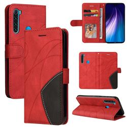 Luxury Two-color Stitching Leather Wallet Case Cover for Mi Xiaomi Redmi Note 8 - Red