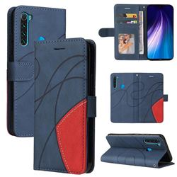 Luxury Two-color Stitching Leather Wallet Case Cover for Mi Xiaomi Redmi Note 8 - Blue