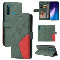 Luxury Two-color Stitching Leather Wallet Case Cover for Mi Xiaomi Redmi Note 8 - Green