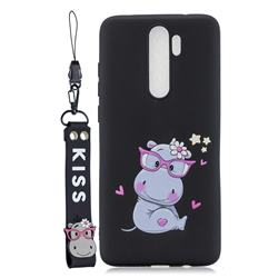 Black Flower Hippo Soft Kiss Candy Hand Strap Silicone Case for Mi Xiaomi Redmi Note 8 Pro