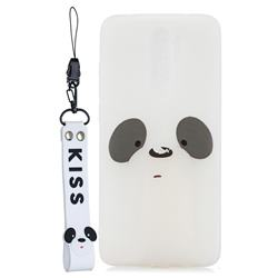 White Feather Panda Soft Kiss Candy Hand Strap Silicone Case for Mi Xiaomi Redmi Note 8 Pro