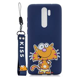 Blue Cute Cat Soft Kiss Candy Hand Strap Silicone Case for Mi Xiaomi Redmi Note 8 Pro