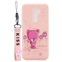 Pink Flower Bear Soft Kiss Candy Hand Strap Silicone Case for Mi Xiaomi Redmi Note 8 Pro