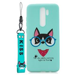Green Glasses Dog Soft Kiss Candy Hand Strap Silicone Case for Mi Xiaomi Redmi Note 8 Pro