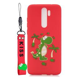Red Dinosaur Soft Kiss Candy Hand Strap Silicone Case for Mi Xiaomi Redmi Note 8 Pro