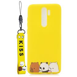 Yellow Bear Family Soft Kiss Candy Hand Strap Silicone Case for Mi Xiaomi Redmi Note 8 Pro