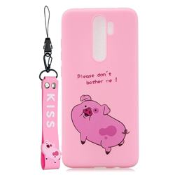 Pink Cute Pig Soft Kiss Candy Hand Strap Silicone Case for Mi Xiaomi Redmi Note 8 Pro