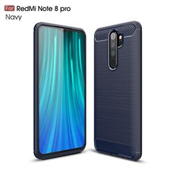 Luxury Carbon Fiber Brushed Wire Drawing Silicone TPU Back Cover for Mi Xiaomi Redmi Note 8 Pro - Navy