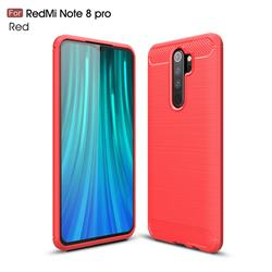 Luxury Carbon Fiber Brushed Wire Drawing Silicone TPU Back Cover for Mi Xiaomi Redmi Note 8 Pro - Red