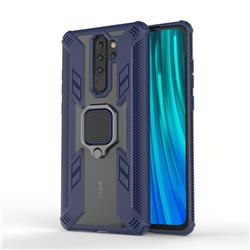 Predator Armor Metal Ring Grip Shockproof Dual Layer Rugged Hard Cover for Mi Xiaomi Redmi Note 8 Pro - Blue