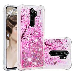 Pink Cherry Blossom Dynamic Liquid Glitter Sand Quicksand Star TPU Case for Mi Xiaomi Redmi Note 8 Pro
