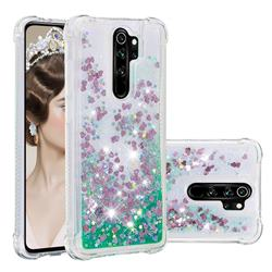 Dynamic Liquid Glitter Sand Quicksand TPU Case for Mi Xiaomi Redmi Note 8 Pro - Green Love Heart