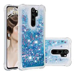 Dynamic Liquid Glitter Sand Quicksand TPU Case for Mi Xiaomi Redmi Note 8 Pro - Blue Love Heart