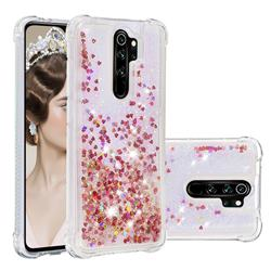 Dynamic Liquid Glitter Sand Quicksand TPU Case for Mi Xiaomi Redmi Note 8 Pro - Rose Gold Love Heart
