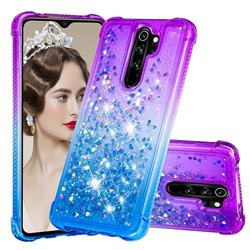 Rainbow Gradient Liquid Glitter Quicksand Sequins Phone Case for Mi Xiaomi Redmi Note 8 Pro - Purple Blue