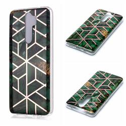 Green Rhombus Galvanized Rose Gold Marble Phone Back Cover for Mi Xiaomi Redmi Note 8 Pro