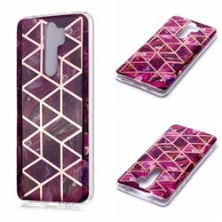 Purple Rhombus Galvanized Rose Gold Marble Phone Back Cover for Mi Xiaomi Redmi Note 8 Pro