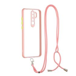 Necklace Cross-body Lanyard Strap Cord Phone Case Cover for Mi Xiaomi Redmi Note 8 Pro - Pink