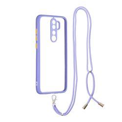 Necklace Cross-body Lanyard Strap Cord Phone Case Cover for Mi Xiaomi Redmi Note 8 Pro - Purple