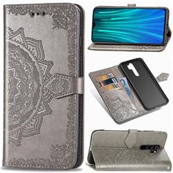 Embossing Imprint Mandala Flower Leather Wallet Case for Mi Xiaomi Redmi Note 8 Pro - Gray