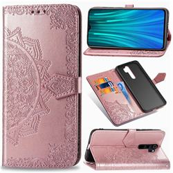 Embossing Imprint Mandala Flower Leather Wallet Case for Mi Xiaomi Redmi Note 8 Pro - Rose Gold