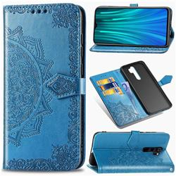 Embossing Imprint Mandala Flower Leather Wallet Case for Mi Xiaomi Redmi Note 8 Pro - Blue