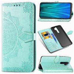 Embossing Imprint Mandala Flower Leather Wallet Case for Mi Xiaomi Redmi Note 8 Pro - Green