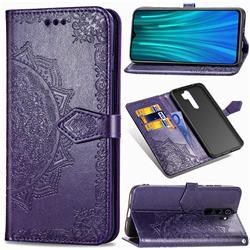 Embossing Imprint Mandala Flower Leather Wallet Case for Mi Xiaomi Redmi Note 8 Pro - Purple