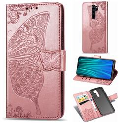 Embossing Mandala Flower Butterfly Leather Wallet Case for Mi Xiaomi Redmi Note 8 Pro - Rose Gold