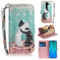 Black and White Cat 3D Painted Leather Wallet Phone Case for Mi Xiaomi Redmi Note 8 Pro
