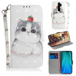 Cute Tomato Cat 3D Painted Leather Wallet Phone Case for Mi Xiaomi Redmi Note 8 Pro