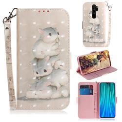 Three Squirrels 3D Painted Leather Wallet Phone Case for Mi Xiaomi Redmi Note 8 Pro