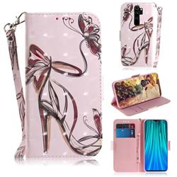 Butterfly High Heels 3D Painted Leather Wallet Phone Case for Mi Xiaomi Redmi Note 8 Pro