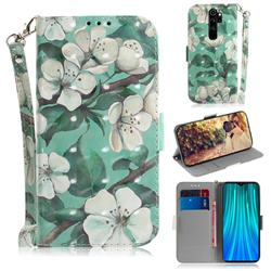 Watercolor Flower 3D Painted Leather Wallet Phone Case for Mi Xiaomi Redmi Note 8 Pro