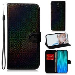 Laser Circle Shining Leather Wallet Phone Case for Mi Xiaomi Redmi Note 8 Pro - Black