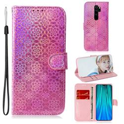 Laser Circle Shining Leather Wallet Phone Case for Mi Xiaomi Redmi Note 8 Pro - Pink
