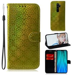 Laser Circle Shining Leather Wallet Phone Case for Mi Xiaomi Redmi Note 8 Pro - Golden