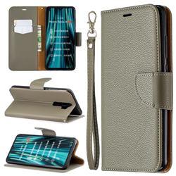 Classic Luxury Litchi Leather Phone Wallet Case for Mi Xiaomi Redmi Note 8 Pro - Gray