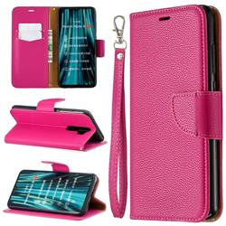 Classic Luxury Litchi Leather Phone Wallet Case for Mi Xiaomi Redmi Note 8 Pro - Rose