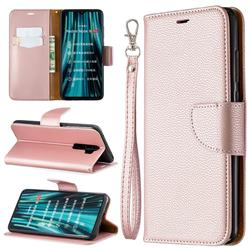 Classic Luxury Litchi Leather Phone Wallet Case for Mi Xiaomi Redmi Note 8 Pro - Golden