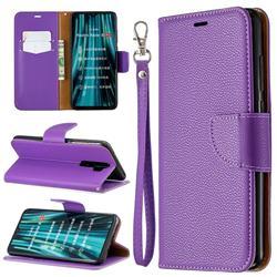 Classic Luxury Litchi Leather Phone Wallet Case for Mi Xiaomi Redmi Note 8 Pro - Purple