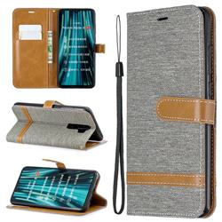 Jeans Cowboy Denim Leather Wallet Case for Mi Xiaomi Redmi Note 8 Pro - Gray
