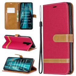 Jeans Cowboy Denim Leather Wallet Case for Mi Xiaomi Redmi Note 8 Pro - Red