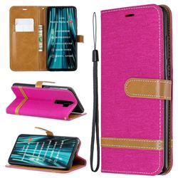 Jeans Cowboy Denim Leather Wallet Case for Mi Xiaomi Redmi Note 8 Pro - Rose