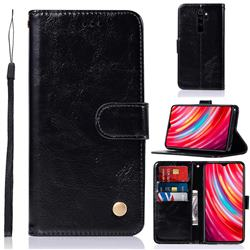 Luxury Retro Leather Wallet Case for Mi Xiaomi Redmi Note 8 Pro - Black